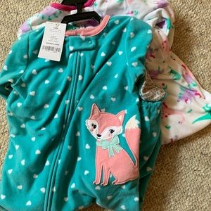 NWT Carter's two pack fleece pajamas baby girl